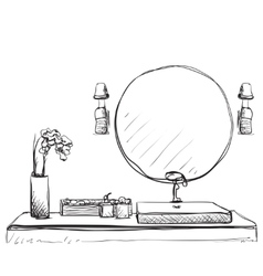 Bathroom interior sketch Hand drawn washbasin vector