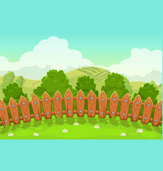 beautiful countryside landscape with wooden fence vector image