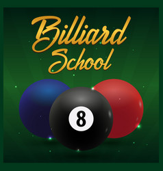Billiard school poster on a green background vector