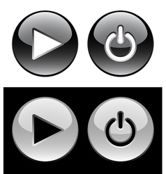 Black and white ring buttons vector image