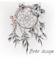 boho design with dreamcatcher feathers and flowers vector image