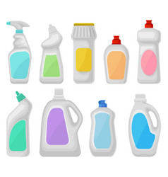bottle of detergents set household cleaning vector image