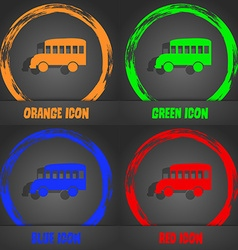 Bus icon Fashionable modern style In the orange vector image