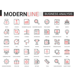 Business analytics flat thin red black line icons vector