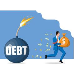 businessman run away from debt bomb vector image