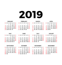 calendar for 2019 on white vector image