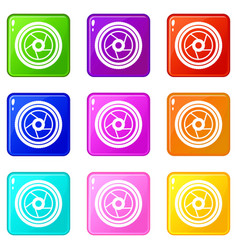 camera aperture set 9 vector image