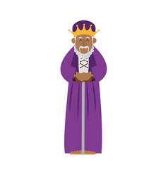 cartoon wise king manger christianity image vector image