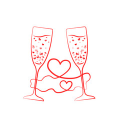 champagne glass hearts with red ribbon vector image