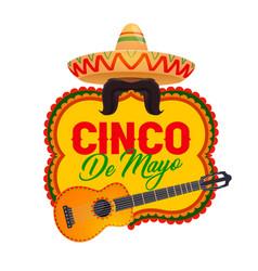 cinco de mayo icon with mexican symbols vector image
