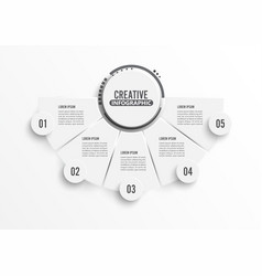 circle infographic template five option process vector image