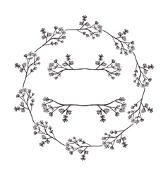 Circular form branchs with flowers inside vector