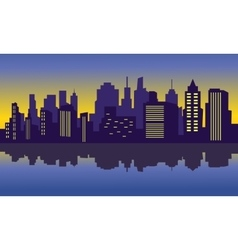 City silhouette at night vector image