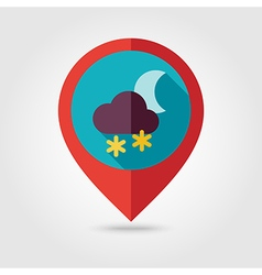 Cloud Snow Moon flat pin map icon Weather vector