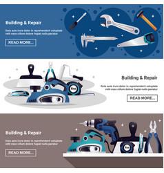 Construction tools horizontal banners set vector