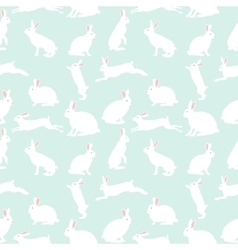 cute rabbit seamless pattern on blue vector image