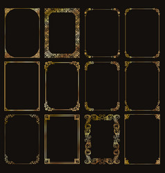 Decorative rectangle gold frames and borders set vector