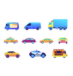 different cars and delivery vector image