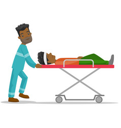 Emergency doctor transporting man on stretcher vector