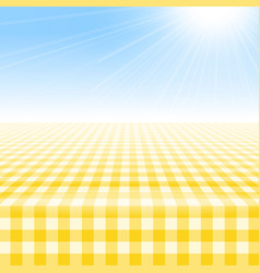 Empty picnic table covered checkered tablecloth vector