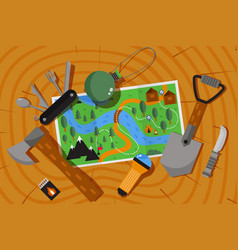 Expedition adventure map hiking and camping vector
