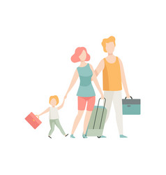 family travelling father mother and son walking vector image