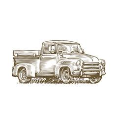 farm truck sketch farming retro car vintage vector image