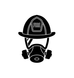 firefighter wearing protective gas mask vector image