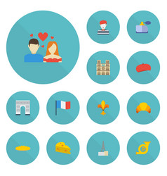 Flat icons loaf cathedral archway and other vector