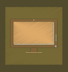 flat shading style icon computer monitor vector image