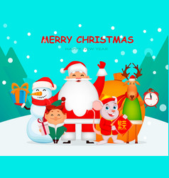 funny santa claus mouse deer snowman and elf vector image