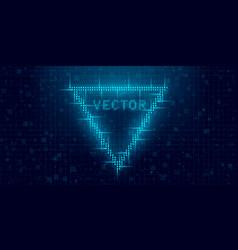 Futuristic cyberpunk glitch triangle blue glowing vector