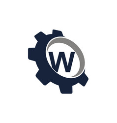 gear logo letter w vector image