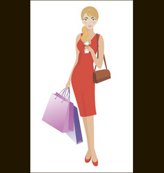 girl with two bags and a drink while shopping vector image