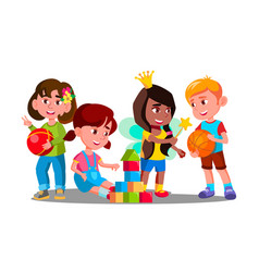 Group of children playing with colorful toys on vector