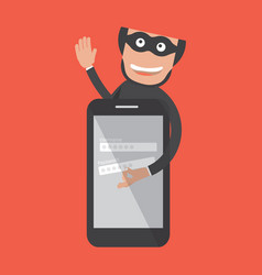hacker breaks into smartphone data theft vector image