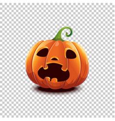 halloween pumpkin in cartoon style scared vector image