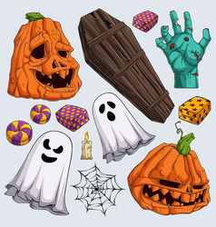 hand drawn scary halloween elements collections vector image