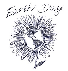 Hand sketch flower and planet earth vector image
