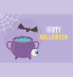 happy halloween cauldron bat cobweb and spooky eye vector image