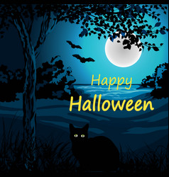 happy halloween with cat tree vector image