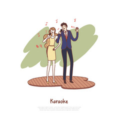 happy man and woman holding microphones vector image