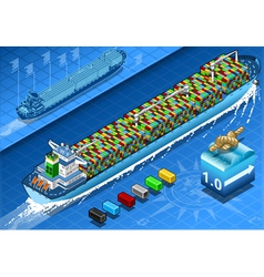 Isometric Cargo Ship with Containers in Navigation vector image