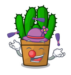 Juggling the beautiful spurge cactus plant cartoon vector