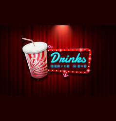 light sign beverage on curtain with spotlight vector image