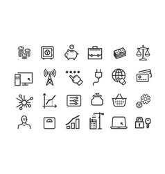 Line icons set collection black outline vector