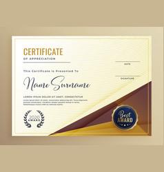 luxury premium certificate design template vector image