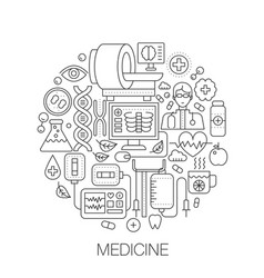 Medicine and health in circle - concept line vector