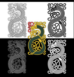Monogram in celtic style with a dragon vector