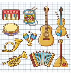 Musical instruments design set monochrome vector